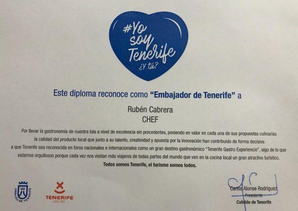 Diploma Ambasador Gastronómico de Tenerife